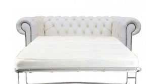 Chesterfield Genuine Leather Shelly White Two Seater Sofa Bed .