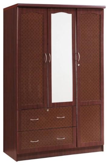 Hodedah Classic 2 Drawer 3 Door Wardrobe With Center Mirror .