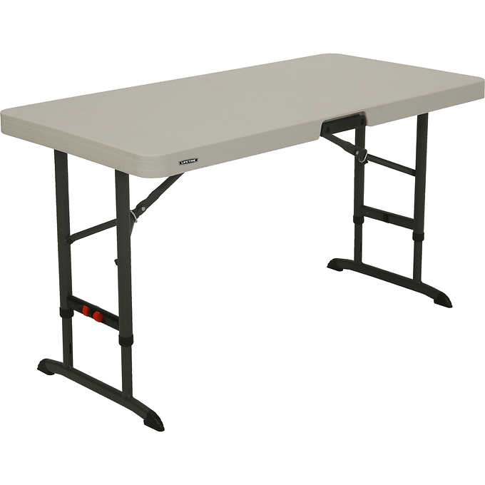 "Lifetime Adjustable Height Folding Table, 48""L x 24""W x 24-34""H ."