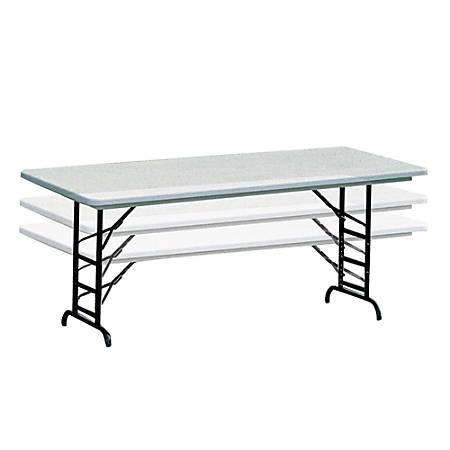 Realspace Adjustable Height Molded Plastic Top Folding Table 6W .