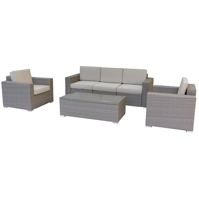 Luxury Living Furniture 6 Piece Multi-Tan Outdoor Lounge Set with .