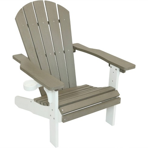 All-Weather Adirondack Chair - Single - Gray/White - Sunnydaze .