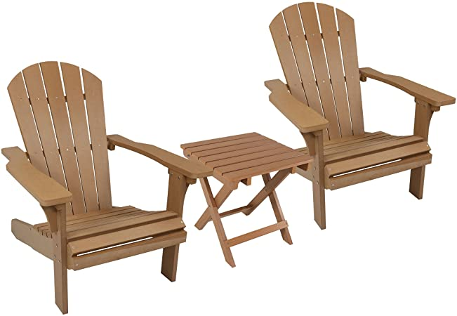Amazon.com : Sunnydaze All-Weather Adirondack Chair Set of 2 with .