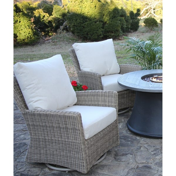Shop Oakmont Swivel Chair 2 Pack All-Weather Wicker Patio Set .