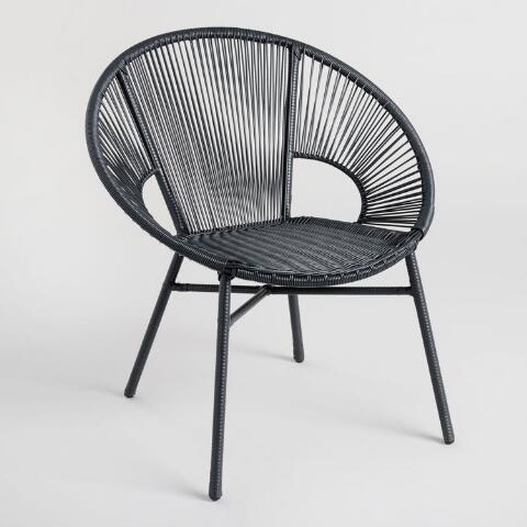 Round Black All Weather Wicker Camden Outdoor Chair | World Mark