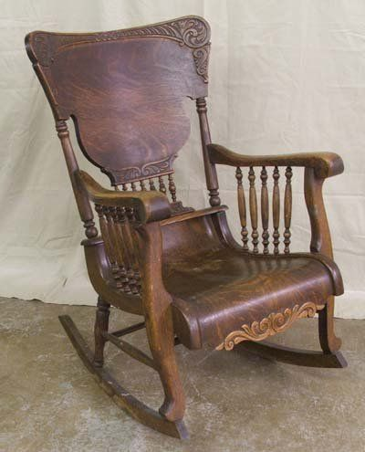 Antique Rocking Chairs | Antique Tiger Oak Rocking Chair : Lot .