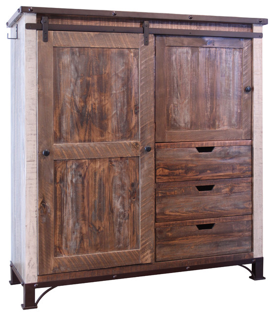 Bayshore Rustic Farmhouse-Style Armoire Gentleman's Chest .