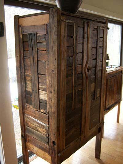 Pallet armoire | Diy furniture, Rustic furnitu