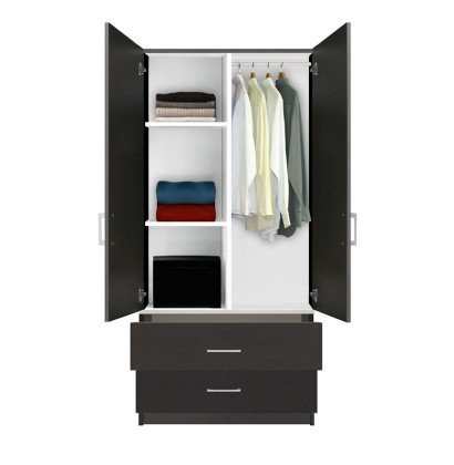 Alta Wardrobe Armoire - 2 Drawer Wardrobe, Shelves, Hangrod .