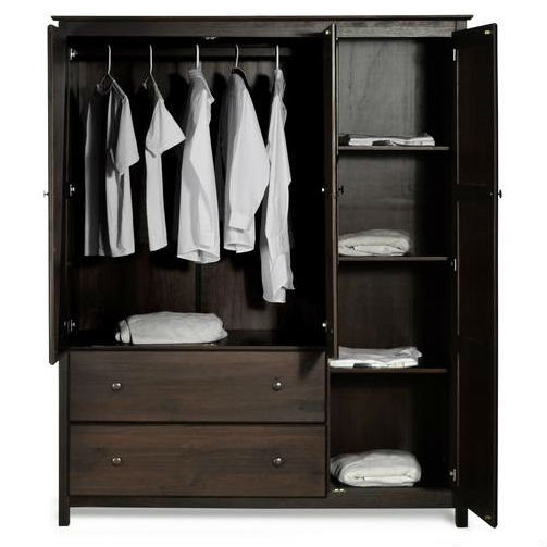 Espresso Wood Finish Bedroom Wardrobe Armoire Cabinet Closet .