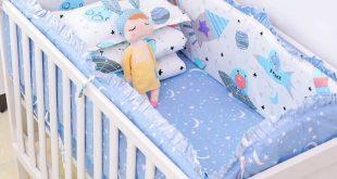 6pcs/set Blue Universe Design Crib Bedding Set Cotton Toddler Baby .