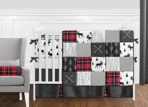 Grey, Black and Red Woodland Plaid and Arrow Rustic Patch Baby Boy .