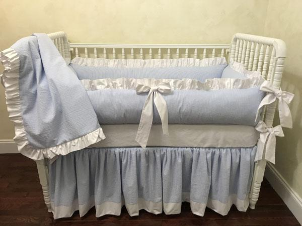 Light Blue Seersucker Crib Bedding Set - Baby Boy Bedding, Crib .