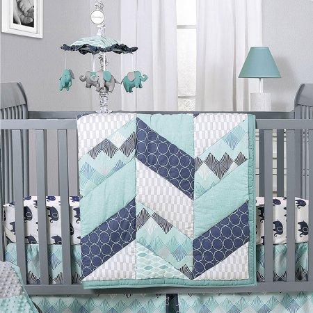 Mosaic Elephant and Geometric 5 Piece Baby Boy Crib Bedding Sets .