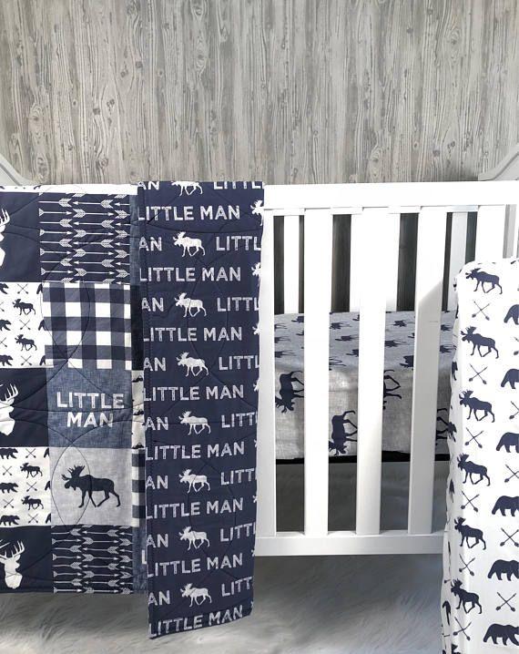 Baby Nursery Bedding Set , Baby , Woodland , Moose , Bear , Arrow .