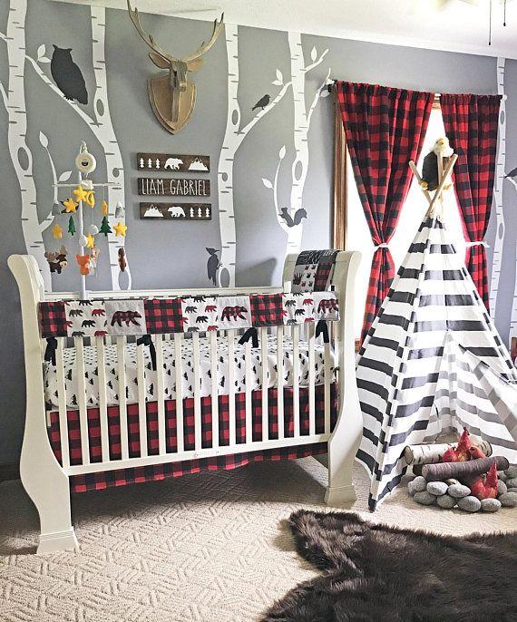 Baby Boy Crib Bedding Set, Lumberjack Baby Bedding, Mountain .