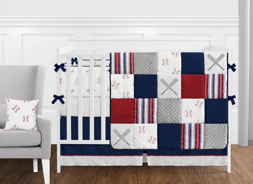 Red, White and Blue Baseball Patch Sports Baby Boy Crib Bedding .