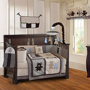 Amazon.com : BabyFad Teddy Bear 10-Piece Boys' Baby Crib Bedding .
