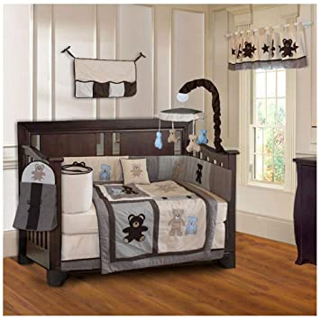 Amazon.com : BabyFad Teddy Bear 10 Piece Baby Crib Bedding Set : Ba