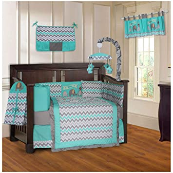 Amazon.com : BabyFad Elephant Chevron Turquoise 10 Piece Baby Crib .