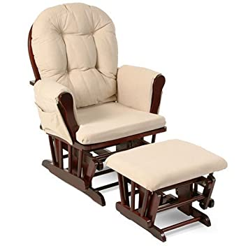 Amazon.com: Beige Bowback Nursery Baby Glider Rocker Chair with .