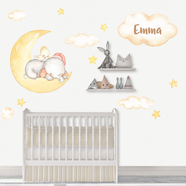 Baby nursery wall sticker Elephant in personalized moon .