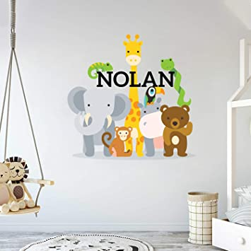 Amazon.com: Custom Name Jungle Animals - Baby Boy Wall Decal .