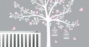 Tree Wall Decals, Nursery Wall Decals, Flower Stickers, Pink Girls .
