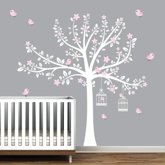 Tree Wall Decals, Nursery Wall Decals, Flower Stickers, Pink Girls .