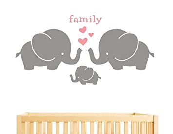 Amazon.com: Elephant Family Wall Decal, Cute Baby Nursery Decal .