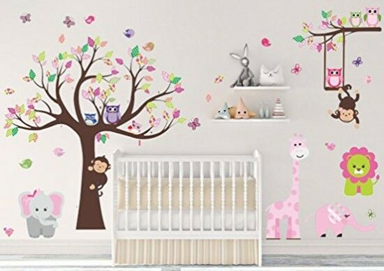 Hanging Safari Monkey Wall Art Prints Baby Girl Pink Nursery .