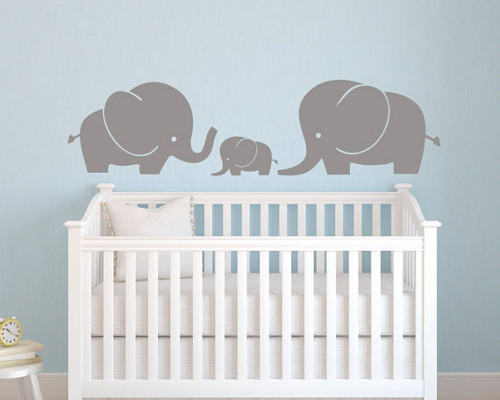 Vinyl Wall Decal - Elephant Family Wall Decal - Elephant Wall .