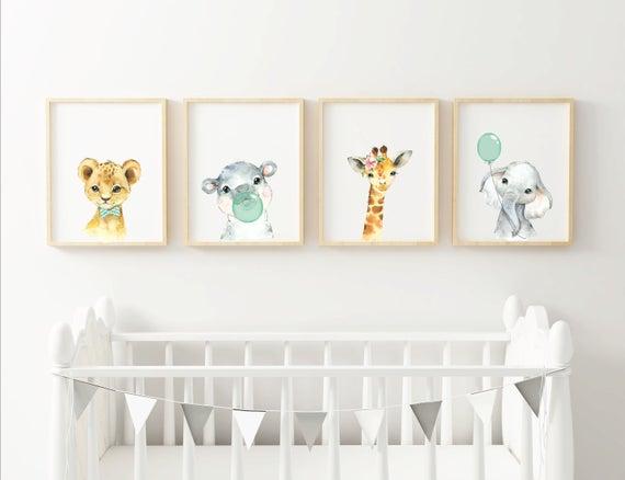 Baby room decor. Baby african animal prints. Nursery prints. | Et