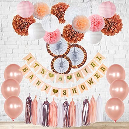 Amazon.com: Rose Gold Baby Shower Decorations Its a Girl Banner .