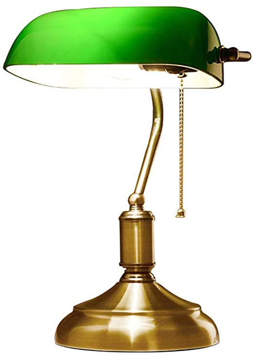 Table Lamp Retro Traditional Style Bankers Lamp Green Glass Shade .