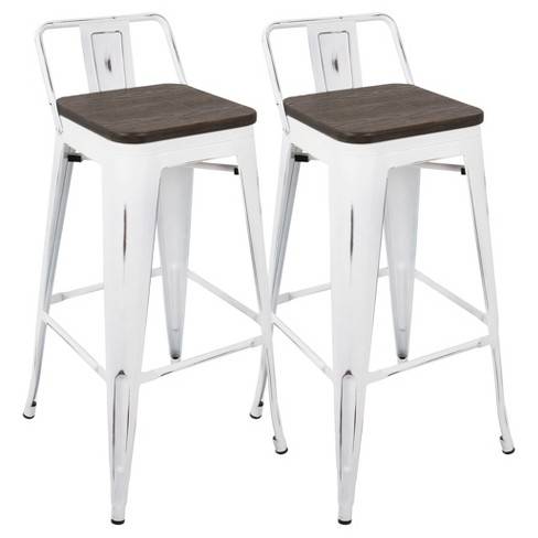 Set Of 2 Oregon Industrial Low Back Bar Stool With Vintage - White .
