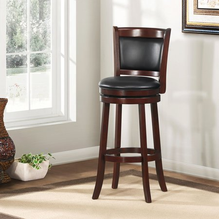 "Weston Home Shapel 29"" Swivel Cushion Back Bar Stool with Faux ."