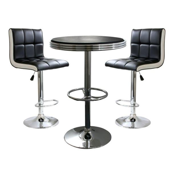 AmeriHome Retro Style Bar Table Set in Black with Padded Vinyl .