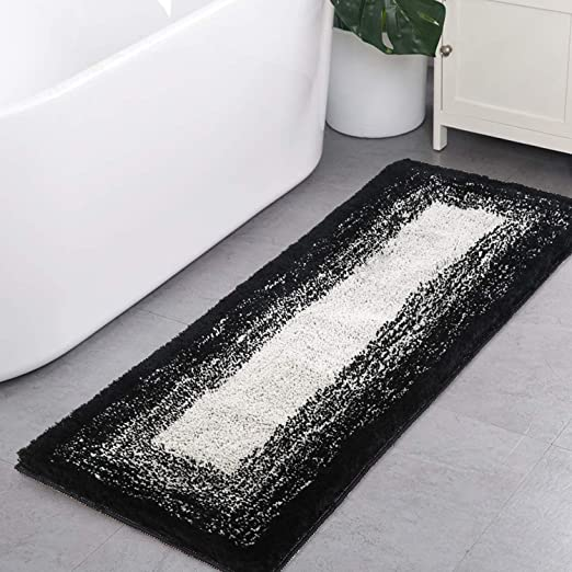Amazon.com: Bath Rug Runner, HAOCOO Banded Ombre Black Bath Mat .