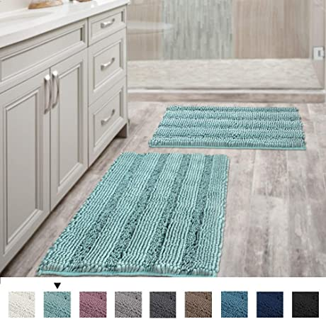 Amazon.com: Non Slip Thick Shaggy Chenille Bathroom Rugs, Bath .