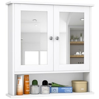Shop Costway New Bathroom Wall Cabinet Double Mirror Door Cupboard .