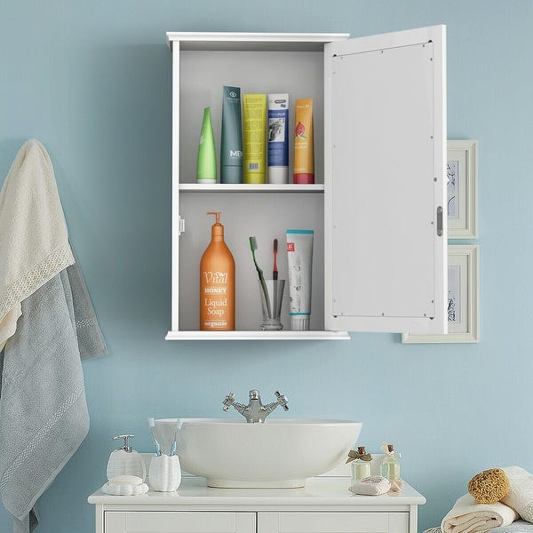 Shop Costway New Bathroom Wall Cabinet Single Mirror Door Cupboard .