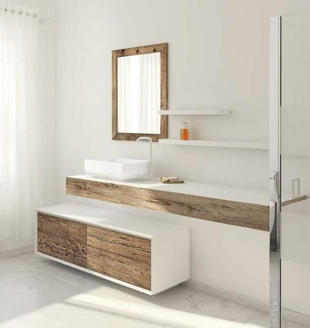 Beautiful Weathered Wood, Bathroom Furniture | Modern white .