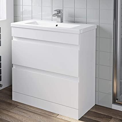 Home & Kitchen 800mm Bathroom Vanity Unit Basin Storage Drawer .