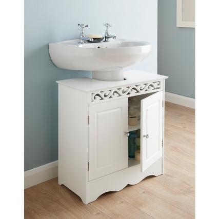 Carved Floral Design Under-sink Cabinet Storage Bathroom Unit .
