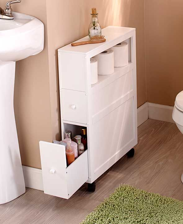 Slim Bathroom Storage Cabinet Rolling 2 Drawers Open Shelf Space .
