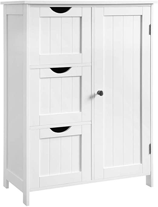 Amazon.com: VASAGLE Bathroom Storage Cabinet, Floor Cabinet with 3 .
