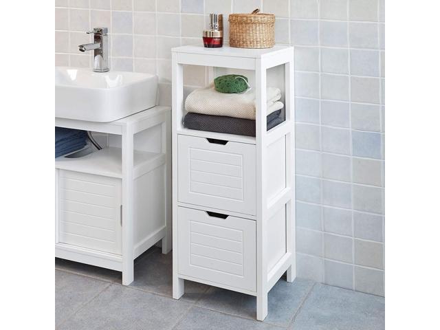 Haotian FRG127-W, White Floor Standing Bathroom Storage Cabinet .
