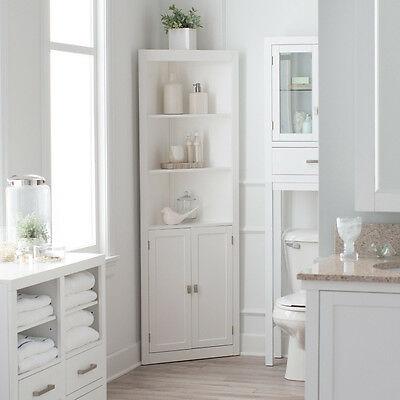 3 Shelf Corner White Linen Tower Cabinet Home Living Bathroom .