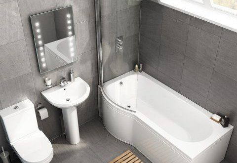 1700mm x 850mm Cesar P Shaped Left Handed Bath Suite - soak.com .